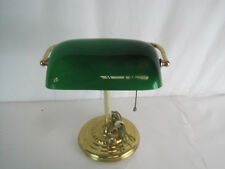 Vintage Brass Bankers Lamp  Green Shade (OAY24-630)