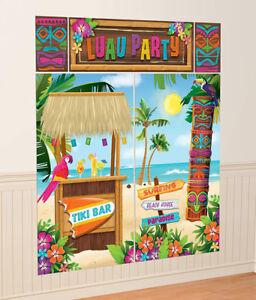 6ft Hawaiian Beach Party Tiki Bar Scene Setter Decorations Photo Prop Backdrop
