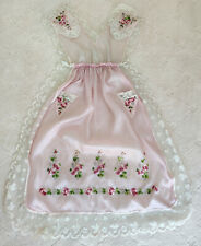 Antique French Pink Silk & Lace Pinafore Apron Embroidered Pink Roses Edwardian