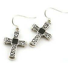 Earrings, Silvertone Cross w/ Black Religious Christian Fish Hook Pretty #255-C