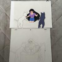 USED Sailor moon cel Cell Picture with sketch Hino Rei Runa japan anime