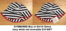 NWT GYMBOREE Sun Hat Baby Girl 6-12 mo Navy and White Stripes with Red trim NEW