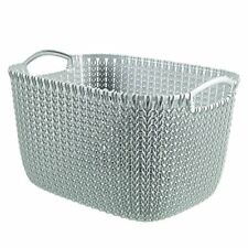"Curver ""Knit"" Rectangular Basket, Blue, 19 Litre"