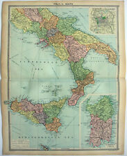 Original 1926 Map of Southern Italy by George Philip & Son. Vintage