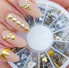 450pcs Plastic Mixed Nail Art Studs 3D Rhinestone 6 Designs Gold/Silver Assorted