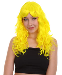 Women Long Curly Glamour Party Event Cosplay Neon Yellow Wig HW-657 (Adult)