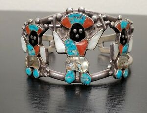Vintage Sterling Silver Turquoise Coral MOP Inlay Cuff Bracelet Kachina