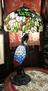 """Spectacular Stained Glass 3 Bulb Peacock Table Lamp 29"""" Tall"""