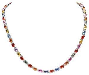 33.60Ct Natural Multicolor  Sapphire & Diamond 14K Solid White Gold Necklace