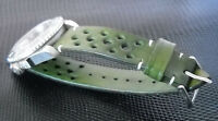 "22mm handmade vintage watch strap Racing Style ""GREEN MUSK"" White stitches"