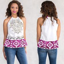 NWT $234 SISTE'S Italian Designer Women's Summer Cotton Top Blouse Size S 8 10