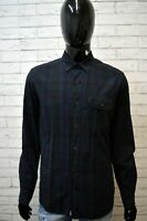 Camicia Uomo TIMBERLAND Size M Manica Lunga Cotone Hemb Chemise Blu Slim Quadri