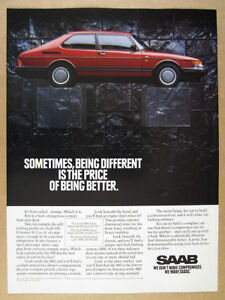 1991 Saab 900 red car color photo vintage print Ad