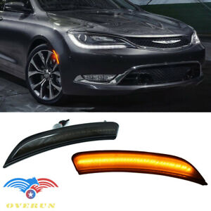Fit 2015-17 Chrysler 200 Front Bumper Amber Led Side Marker Smoke Housing Light