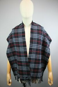Burberry The Classic Navy Nova Check 170x33cm Lambswool 100% scarf PRE- OWNED