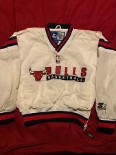 Chicago Bulls Vintage Starter NBA Pullover Jacket White RARE Youth Small