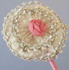Antique Flapper c1920s Powder Puff Wand Delicate Lace + Silk Ribbonwork Rose