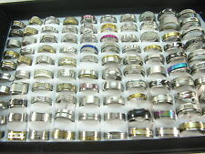 100 PCS WHOLESALE BULK MIX LOT STAINLESS STEEL RINGS FASHION JEWELRY