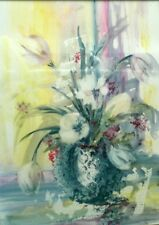 """TULIPS ON YUPO, Original Water Color Painting  Artist Signed, Framed 24"""" x 30"""""""