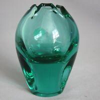 Vintage SKLO UNION CZECH Art Glass Hand Blown VASE MCM GREEN