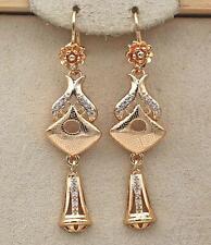 """18K Gold Filled 2.1"""" Earring Laser Carving Geometry Vase Flower Aeolian Bells DS"""