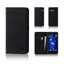 32nd Classic Series - Real Leather Book Wallet Flip Case Cover for HTC U11 and