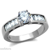 Clear 0.85ct Cubic Zirconia Stone Silver Stainles Steel Engagement Ladies Ring
