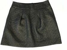 Ann Taylor LOFT Skirt 8 Gold Black Metallic Black Sparkle Lined