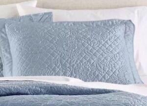 Martha Stewart Flowering Trellis Blue Quilted Standard Sham New