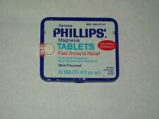 VTG-Advertising-Pharmacy-MEDICINE-Tin-Box-PHILLIPS-Magnesia-TABLETS-Sealed-1981