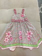 Girl $100 Beetlejuice London Boutique Dress Size 5 Cotton Pink White Flowers