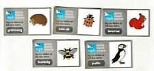 More details for rspb pin badges - irish set ,hedgehog,ladybird, red squirrel, bumblebee, puffin