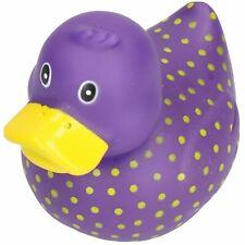 Purple Spotty Rubber Vinyl Squeaky Duck Dog Toy With Internal Squeak 8x10cm