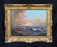 Fine Large 19th Century Coastal Seascape Shower Off The Needles Julius OLSSON