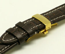 20mm Brown/White Leather Crocodile Grain Watch Strap Gold Plated Deployant Clasp