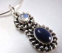 Moonstone and Lapis 925 Sterling Silver Necklace India