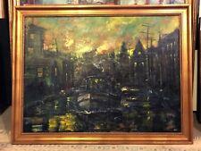 Historic Erie Canal, Syracuse, New York 30x40 in. Framed Hall Groat Sr.
