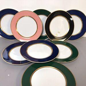Set of 9 Fitz  Floyd Renaissance Dark Green Renaissance Blue Pink Dinner Plate