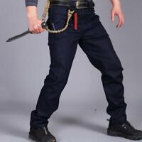Men Tactical Jeans Combat Cargo Pant Hiking Military Multi-Pocket Denim Trousers