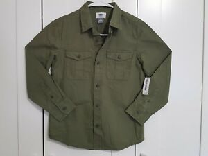 Boys Old Navy Long-Sleeve Utility Shirt, Button-up, Olive Green, Size M (8)