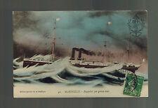 1912 Marseille France Postcard Cover SS Marselle Steamer Passenger Ship to Lyon