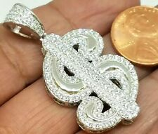 925 sterling silver dollar $ money pendant hip hop luck iced simulated diamond