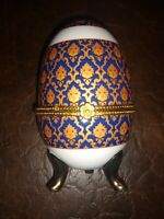 LIMOGES EASTER EGG FOOTED & HINDGED TRINKET BOX PAINTED COBALT BLUE & GOLD
