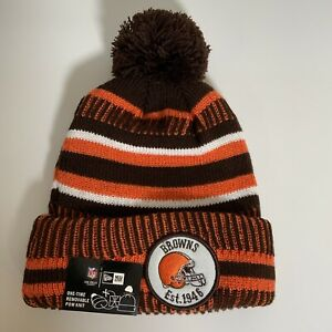 NEW ERA Cleveland Browns KNIT NFL Sideline Beanie Winter Pom Knit Cap Est.1946