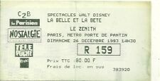 RARE / TICKET SPECTACLE- LA BELLE ET LA BÊTE WALT DISNEY AU ZENITH DE PARIS 1993