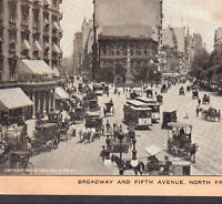 Broadway & Fifth Ave NYC © 1903 New York City Trolley Singer Sewing Trade Card