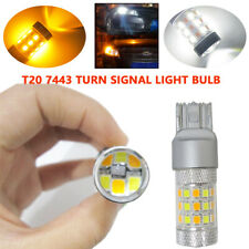 2X 7443 Switchback SMD LED Bulbs WHITE & AMBER Dual Color Turn Signal Lamp Light