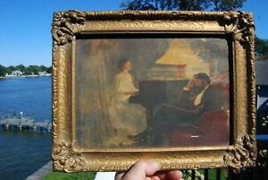 Antique Oil on Canvas Painting Victorian Music Teacher with Pianist & Angel!