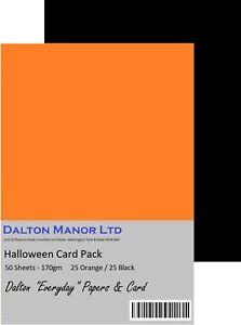 DALTON MANOR HALLOWEEN CARD PACK 170gm 50 SHEETS ORANGE / BLACK MIX