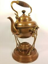 Antique Brass Tea pot Kettle With Ornate Stand And Burner By Trade Mark